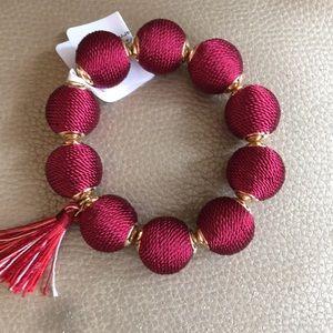 Jewelry - Burgundy reddish Yarn Ball Tassel Bracelet
